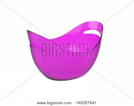 Oval purple plastic bucket Isolated on White Background, 3D rendering