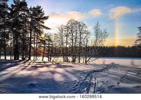 Winter landscape. Sun halo. Parhelion. Tracks on the snow. Frozen lake