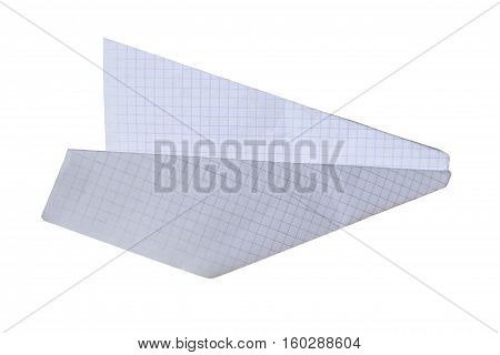 Paper airplane from the exercise book sheet isolated on a white background