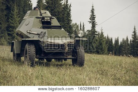 PERM RUSSIA - JULY 30 2016: Historical reenactment of World War II summer 1942. Soviet armored car