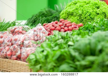 Close up. Different green vegetables on the supermarket shelf. Fresh organic on shelf in supermarket. Healthy food concept. Vitamins.