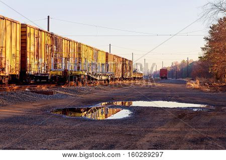 Railway cars stand on cargo station in USA road railway wagons