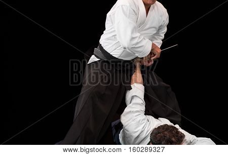 aikido master disarms his opponent during a public fight demonstration