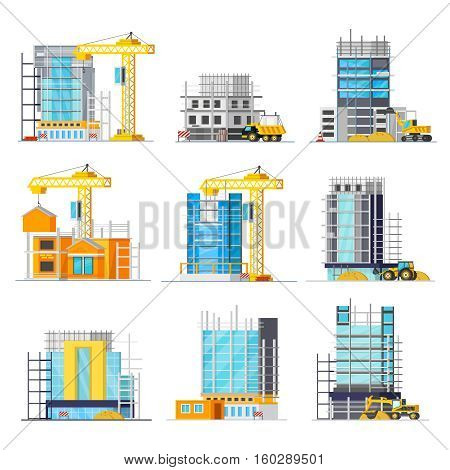 Orthogonal icons set with construction of buildings from glass and concrete scaffolding and machineries isolated vector illustration