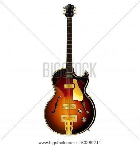 Realistic semi-acoustic musical instrument classical jazz guitar. Isolated object can be used with any image or text.
