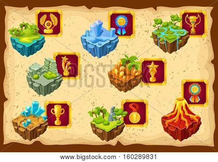 Game islands ground landscape map with isolated piece of island trophies icon set around vector illustration