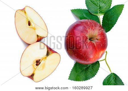 Apple Isolated Apple on White Background. Ripe Apple Fresh Fruit. Fresh Red Apple. Ripe and juicy apples close up. Composition of apple. Vegetarian food farm food organic food vegan.