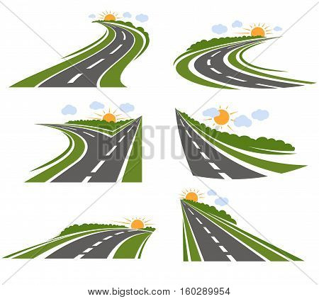 Roads and landscape logo set with cartoon style road and scenery with trees sun and clouds vector illustration