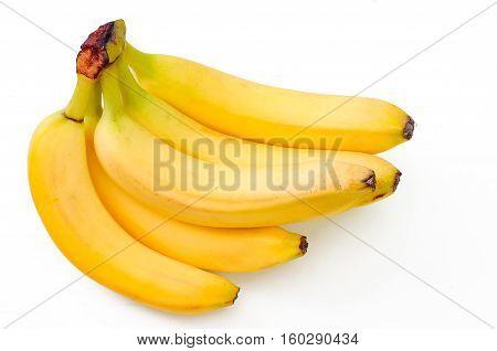 raw fresh bananas isolated on white backdrop