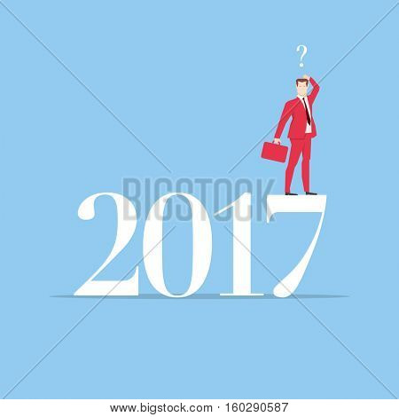 Businessman in red suit. Flat style business new year 2017 concept vector illustration.