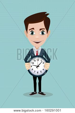 portrait of young man holding a clock with his hands over background. Stock vector illustration