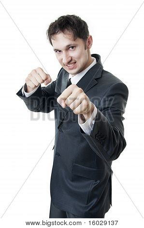 Business Man Boxing To The Shot (punching)