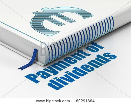 Banking concept: closed book with Blue Euro icon and text Payment Of Dividends on floor, white background, 3D rendering