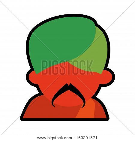 avatar face indian man mustache green turban icon vector illustration eps 10