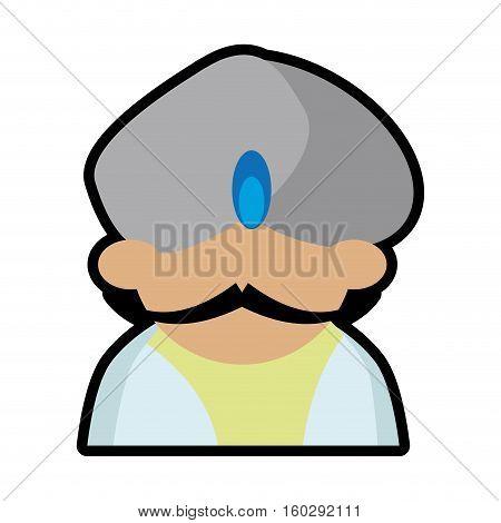 avatar face indian man turban jewelry mustache vector illustration eps 10