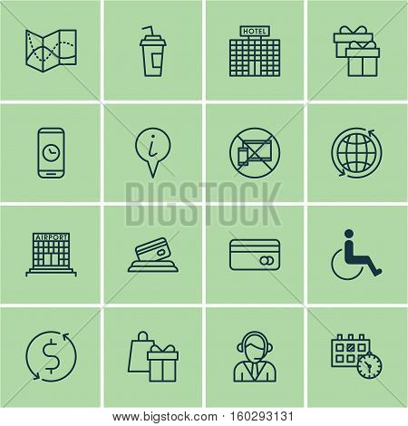 Set Of 16 Transportation Icons. Can Be Used For Web, Mobile, UI And Infographic Design. Includes Elements Such As World, Credit, Dollar And More.