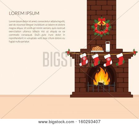 Festive interior of the room. Brick fireplace with fire Christmas stockings and wreath the milk and cookies snack for Santa Claus. A wall clock.