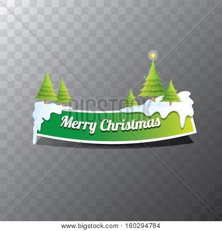 Christmas vector green glossy button with green cartoon christmas tree and christmas lights. web green christmas button with white snow, ice border and transparent shadow