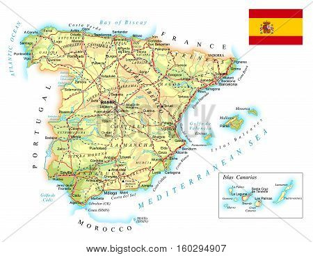 Detailed Road Map Of Spain.Large Detailed Road Vector Photo Free Trial Bigstock