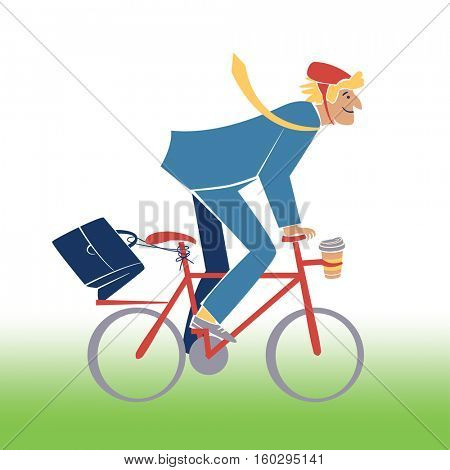 Energetic blonde businessman hurrying to work on his bicycle.