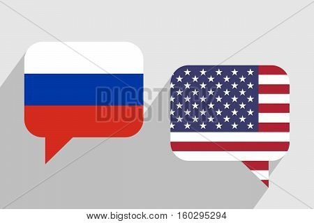 Two message clouds with flags of Russia and USA respectively. Dialogue between Russian Federation and United States of America. Geopolitics and leadership concept