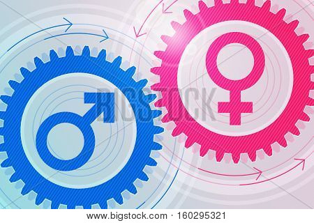 Blue gear with male symbol inside and pink gear with female symbol inside near to each other. Interaction and interdependence of genders. Heterosexual relationships. Tinted effect