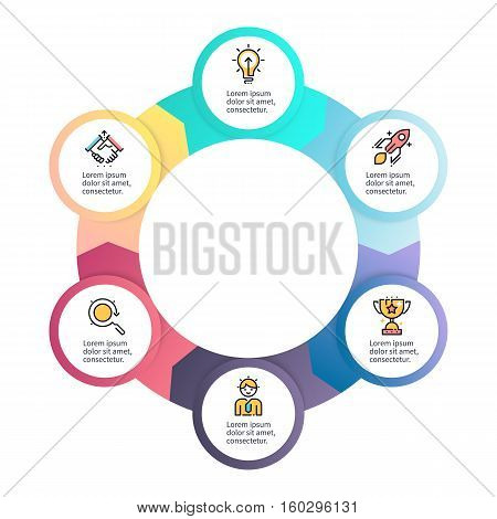 Circular infographics. Business diagram with 6 steps. Vector design element.