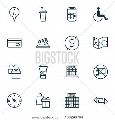Set Of 16 Transportation Icons. Can Be Used For Web, Mobile, UI And Infographic Design. Includes Elements Such As Accessibility, Disabled, Calculator And More.