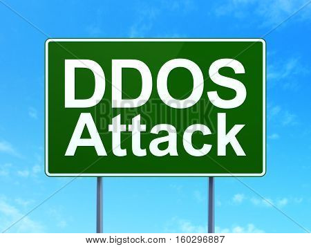 Safety concept: DDOS Attack on green road highway sign, clear blue sky background, 3D rendering