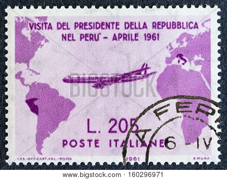 "Biella Italy - November 26 2016. Rare post stamp ""Gronchi Pink"" depicting the visit of President Gronchi in Peru in april 1961"