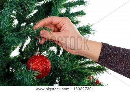 Close up photo of a woman decorating the Christmas tree