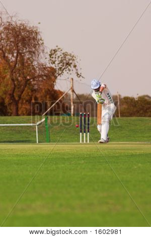Cricket Player Hitting Ball