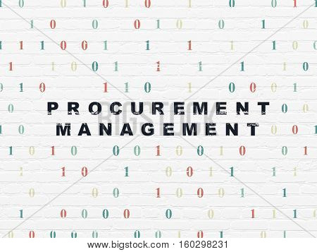 Business concept: Painted black text Procurement Management on White Brick wall background with Binary Code