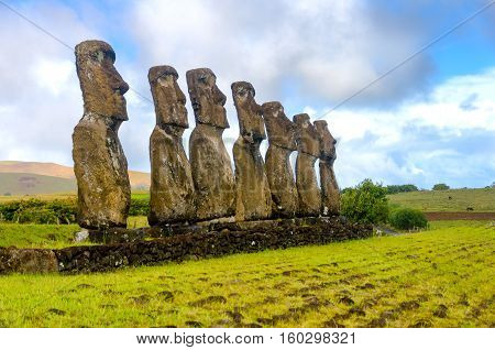 Seven Moai statues watching over Easter Island Chile