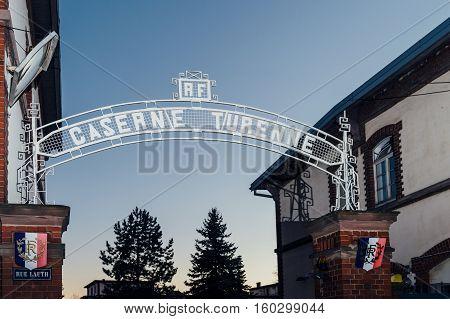 STRASBOURG FRANCE - NOV 29 2016: Caserne Turenne inscription above the gate of the enrolment military office in the French city of Strasbourg France