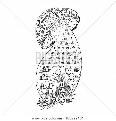 Adult coloring book page. Mono color black ink illustration, vector art. Fairy stylized mushroom house. Vector illustration