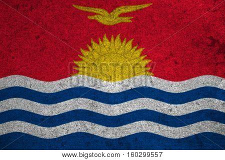Kiribati Flag On An Old Grunge Background