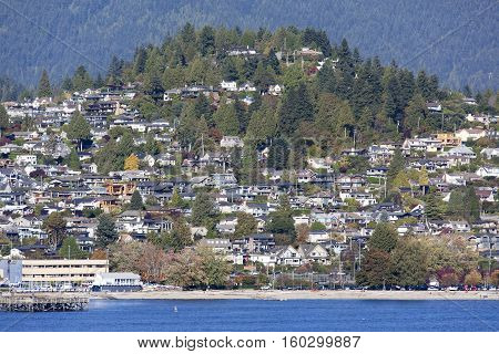 The view of West Vancouver residential district in Autumn (British Columbia).