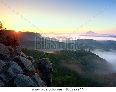 Autumn Sunrise Forest,  Fall Colorful Valley Full Of Dense Mist