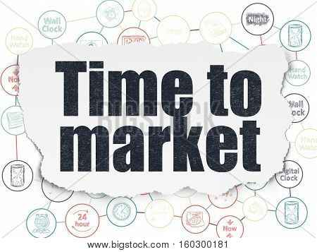 Timeline concept: Painted black text Time to Market on Torn Paper background with Scheme Of Hand Drawing Time Icons