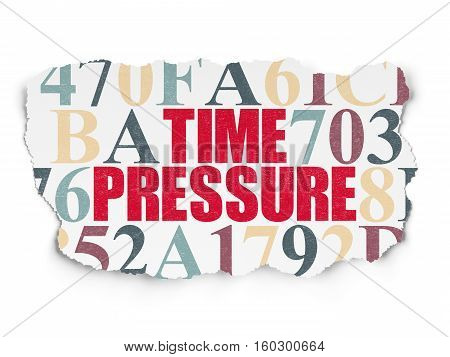 Time concept: Painted red text Time Pressure on Torn Paper background with  Hexadecimal Code