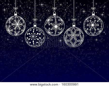 christmas or new year or winter background with blank place for your text on dark background christmas balls silhouette with snowflake texture on night stars snowy sky holiday vector illustration