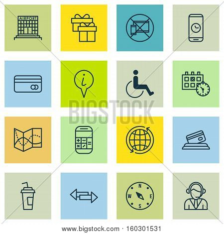 Set Of 16 Traveling Icons. Can Be Used For Web, Mobile, UI And Infographic Design. Includes Elements Such As Around, Paralyzed, Present And More.