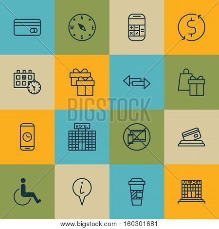 Set Of 16 Transportation Icons. Can Be Used For Web, Mobile, UI And Infographic Design. Includes Elements Such As Appointment, Pointer, Paralyzed And More.