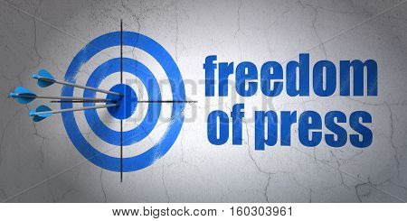 Success politics concept: arrows hitting the center of target, Blue Freedom Of Press on wall background, 3D rendering