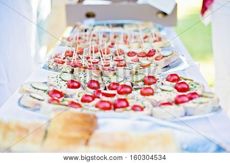 Wedding canapes made of cut roll of bread topped with vegetable, fish and meat spread and cucumber rings and cherry tomatoes served on big plate as help yourself buffet table outdoors after garden wedding ceremony, cheap wedding food ideas, quick and easy