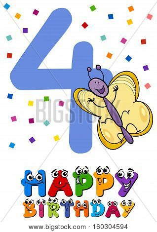Fourth Birthday Cartoon Card Design