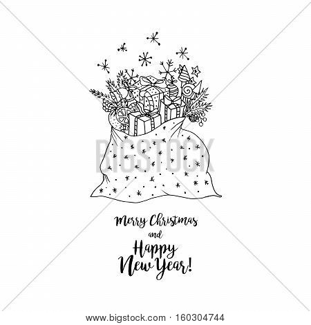 Black vector mono color illustration for Merry Christmas and Happy New Year 2017 print design. Coloring book page design isolated element, for adults or kids. Vector template.