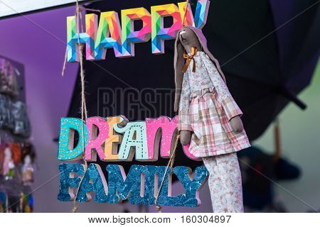 color inscription of letters. Dream, happy familly