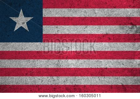 Liberia Flag On An Old Grunge Background